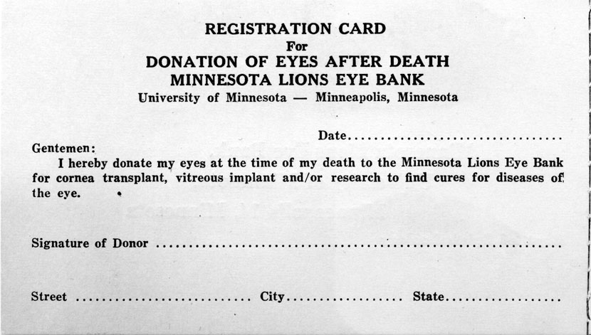Image of early eye donor registration card