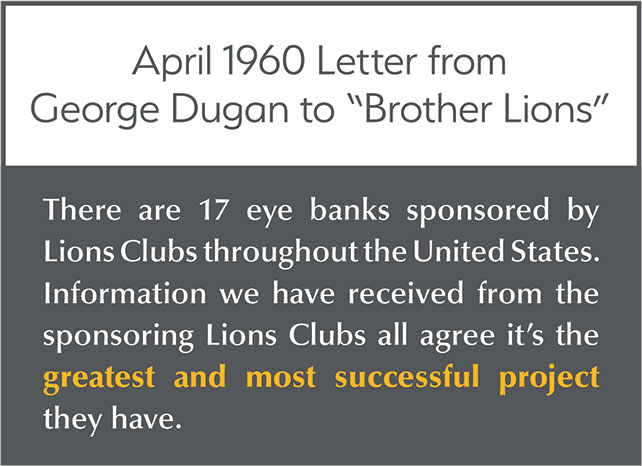 "April 1960 Letter from George Dugan to ""Brother Lions"": There are 17 eye banks sponsored by Lions Clubs throughout the United States. Information we have received from the sponsoring Lions Clubs all agree it's the greatest and most successful project they have."