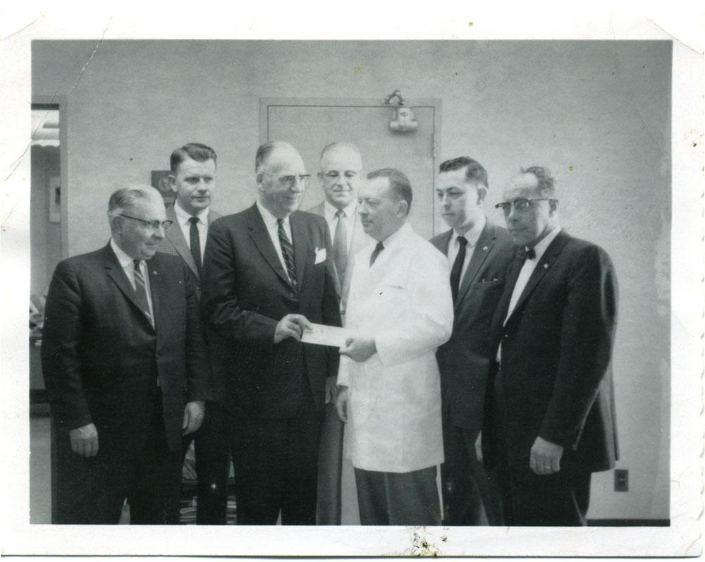 Photo of Lions check presentation in 1961.